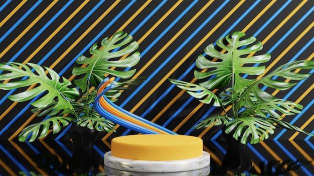 モンステラの葉の表彰台製品