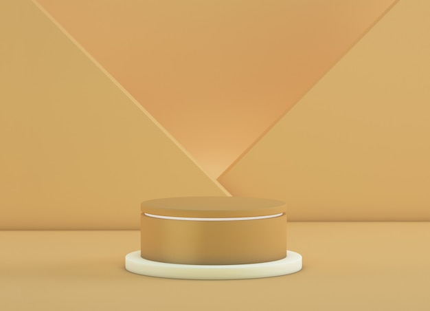 Podium for products with crossed planes in the background in gold color
