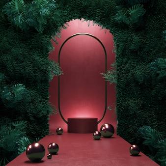 表彰台の赤い色とモンステラの庭の壁の3dレンダリングの概念