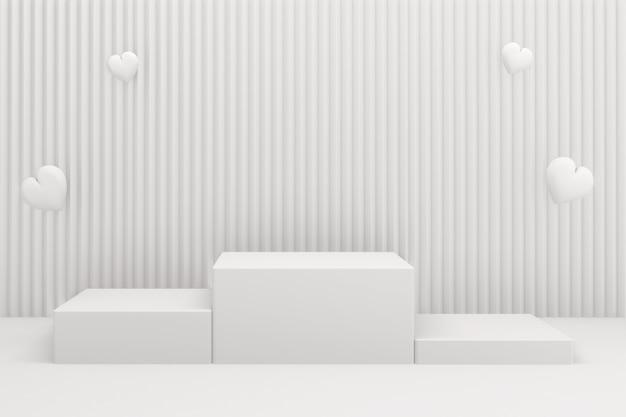 Подиум шоу косметический продукт геометрической формы цилиндр подиум на белом фоне. 3d визуализация