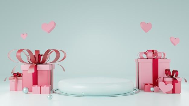 ハート、ボール、ギフトボックス要素付きの水色の製品を示す表彰台。バレンタインデーのコンセプトの背景イラスト。 3dレンダリング。