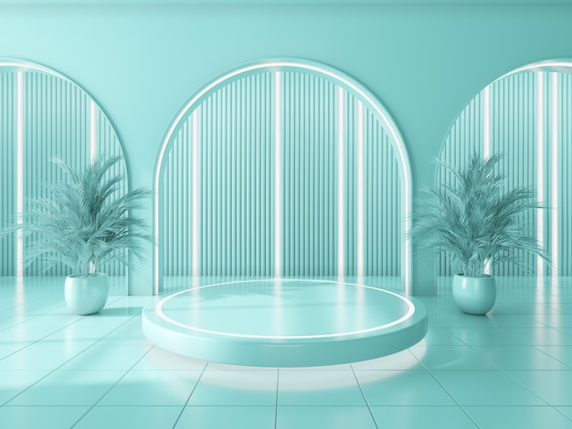 Podium for showing product and blue circle wall interior background .3d render