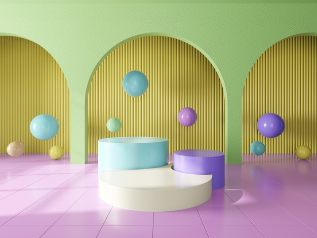 Podium for showing product and colorful interior background .3d render