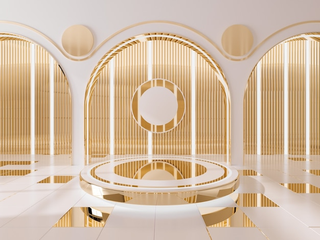 Podium for showing product  and golden wall interior background .3d render