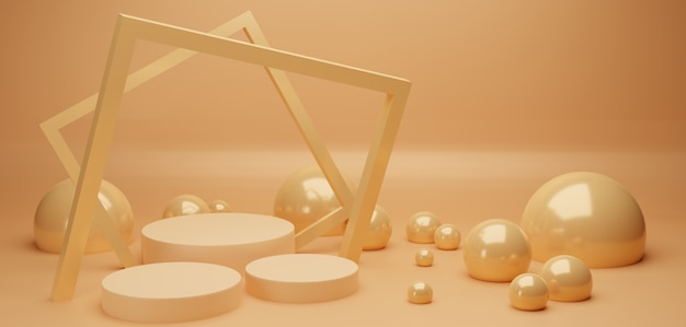 Podium and square frame with abstract glowing pearl