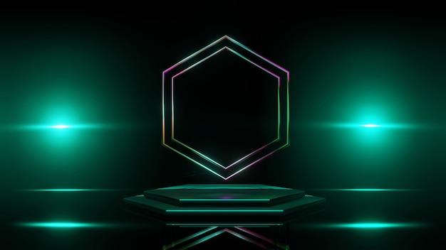 Подиум, сцена 3d зеленый фон, световой эффект, абстрактный стиль текстуры, может быть использован в дизайне обложки, дизайне книги, плакате, флаере, фоне веб-сайта или рекламе.