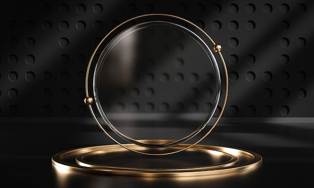 Podium stage circle glass black gold display product 3d rendering