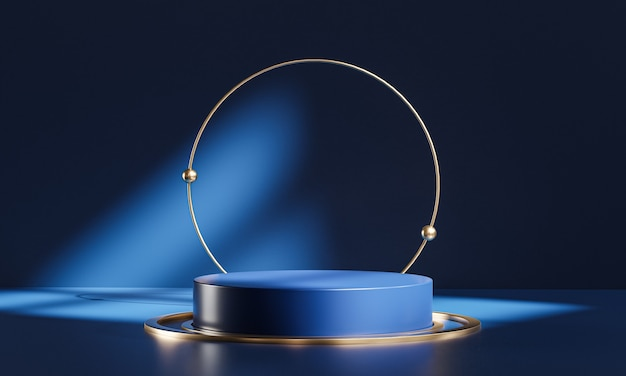 Podium stage circle glass dark blue gold display product 3d rendering