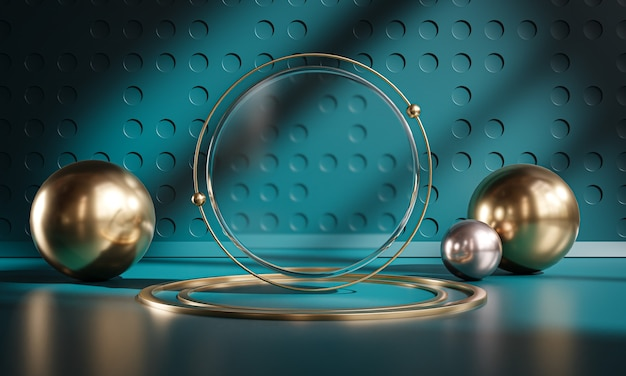 Podium stage circle glass sphere dark teal gold display product 3d rendering