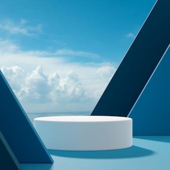 연단 무대는 파란색 배경에 푸른 하늘과 구름에 추상 모양을 서