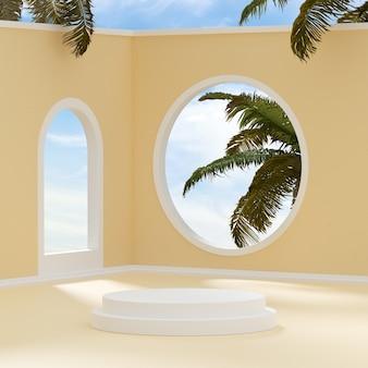 제품 배치 3d 렌더를 위한 푸른 하늘 열대 나무 배경의 연단 무대 스탠드 베이지색 방