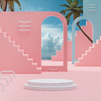 Podium stage stand on cloudy blue sky tropical background 3d render