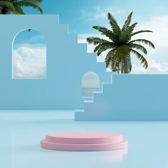 연단 무대는 제품 배치 3d 렌더를 위한 열대 나무 배경이 있는 바다 푸른 하늘을 서 있습니다.