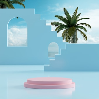 Podium stage stand ocean blue sky with tropical trees background for product placement 3d render