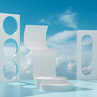 Подиум сценический стенд на синем белом фоне с голубым небом и облаками в солнечный день 3d визуализации