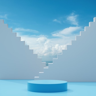 Подиум сценический стенд на синем белом фоне с голубым небом и облаками в солнечный день абстрактный фон 3d визуализации