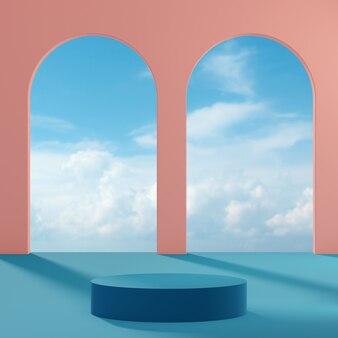 연단 무대는 맑은 날에 푸른 하늘과 구름과 복숭아 배경에 서