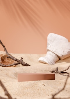 제품 배치 3d 렌더링을 위한 베이지색 모래 배경에 연단 무대 스탠드