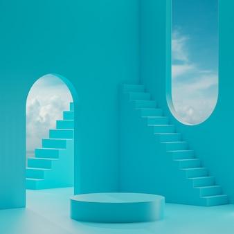 푸른 하늘과 구름 3d 렌더링 파란색 배경에 연단 무대 스탠드