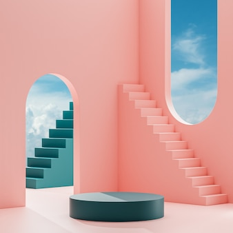 Podium stage stand on a peach background with blue sky and clouds on a sunny day 3d render