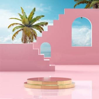 Podium stage stand on tropical blue sky at sea shore for product placement 3d render