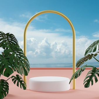 Podium stage stand on tropical cloudy sky background