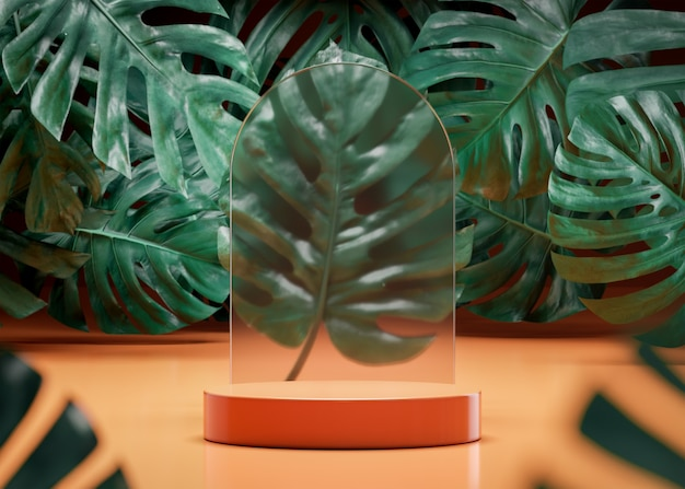 Podium stage stand on tropical monstera background 3d render