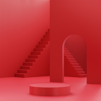 빨간색 제품 배치를위한 연단 단계 단계