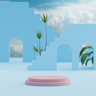 제품 배치 3d 렌더를 위한 열대 나무 배경이 있는 연단 스탠드 푸른 하늘