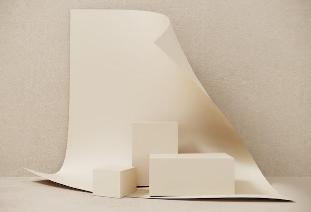 表彰台、展示会、製品のプレゼンテーションのための渦巻くシートの背景に紙で作られたスタンド。幾何学的なオブジェクト、ボックスの抽象的な構成。