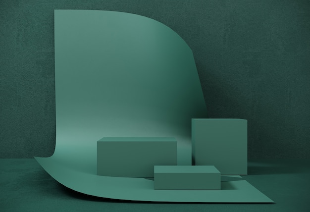 Podium, stand made of paper on background of swirling sheet for exhibitions, presentation of products. abstract composition of geometric object, boxes.