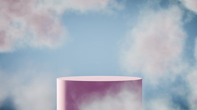 Podium stand for product display with dreamy sky background