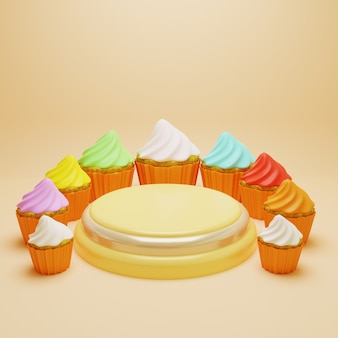 Podium surrounded colorful frosting cupcakes, 3d render pedestal