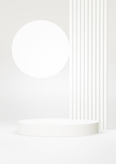 연단 흰색 추상적 인 배경입니다. 기하학적 모양. 흰색 파스텔 색상 장면. 최소한의 3d 렌더링. 기하학적 배경을 가진 장면입니다. 3d 렌더링