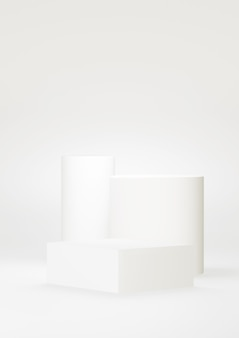 Podium white abstract background. geometric shape.  white pastel color scene. minimal 3d rendering. scene with geometrical background. 3d render