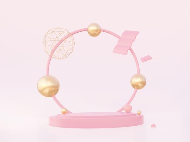 분홍색 배경에 황금색 기하학적 모양이 있는 둥근 분홍색 아치가 있는 연단. 3d 렌더링.