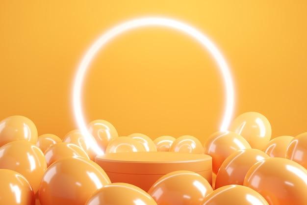Подиум с воздушными шарами на оранжевом фоне