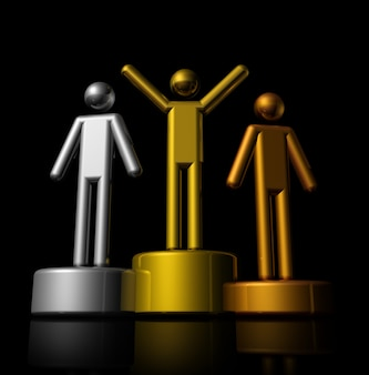 Podium with bronze, silver and gold winners - three dimensional illustration isolated on black