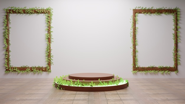 Podium with leaves in terrace with couple photo frames on white wall