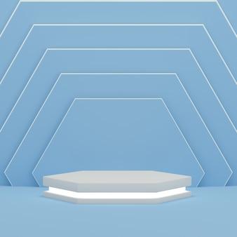 Подиум с светом на красочном синем фоне образца шестиугольника для квадрата размера дисплея продукта. пустая подиумная площадка. 3d-рендеринг.