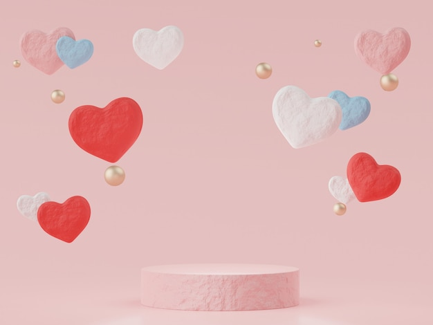Podium with lovely heart for valentine's day