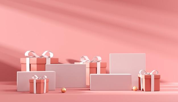 발렌타인과 크리스마스에 대 한 빨간색 배경에 빨간색 선물 상자와 연단.
