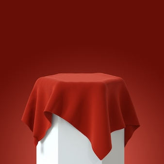 Подиум с красной бархатной скатертью. 3d рендеринг