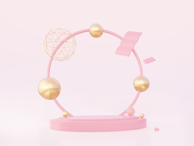 Podium with a round pink arch with golden geometric shapes on a pink background. 3d rendering.