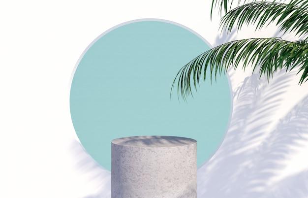 熱帯のヤシの木と表彰台は、化粧品の表示のための影を残します。 3dレンダリング。