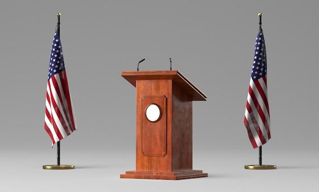 Podio con due bandiere per le elezioni americane