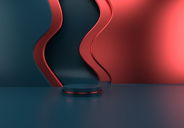 Podium with waves on grey and red