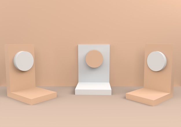Podiums in abstract beige composition