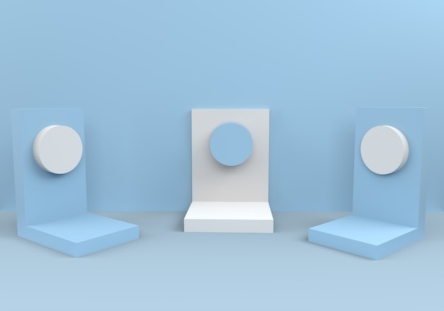 Podiums in abstract blue composition
