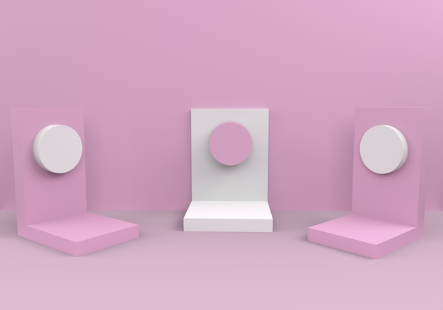Podiums in abstract pink composition